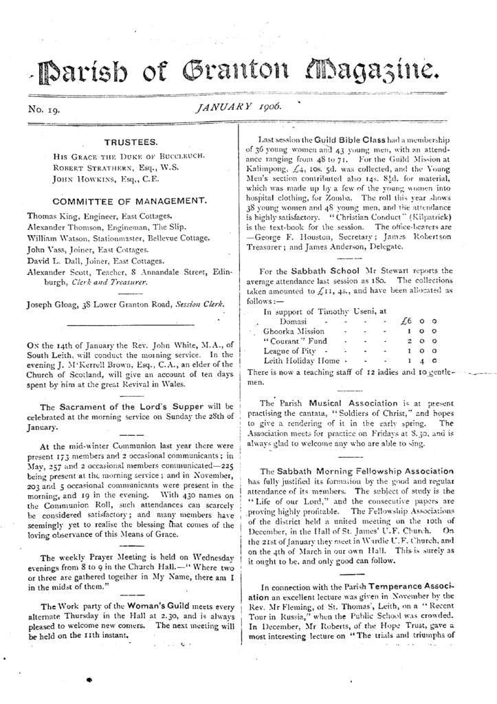 thumbnail of Parish of Granton Magazine – January 1906