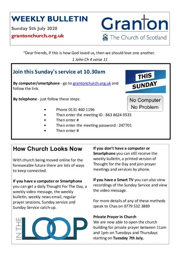 thumbnail of 2020 07 05 – The Bulletin for Sunday 5th July 2020