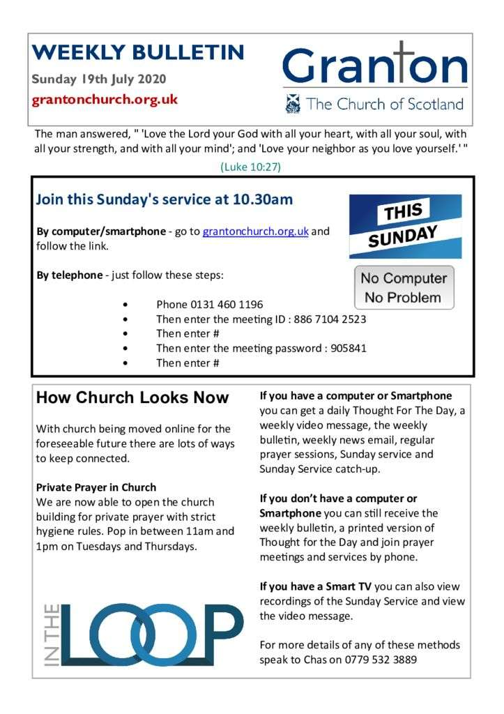 thumbnail of 2020 07 19 – The Bulletin for Sunday 19th July 2020