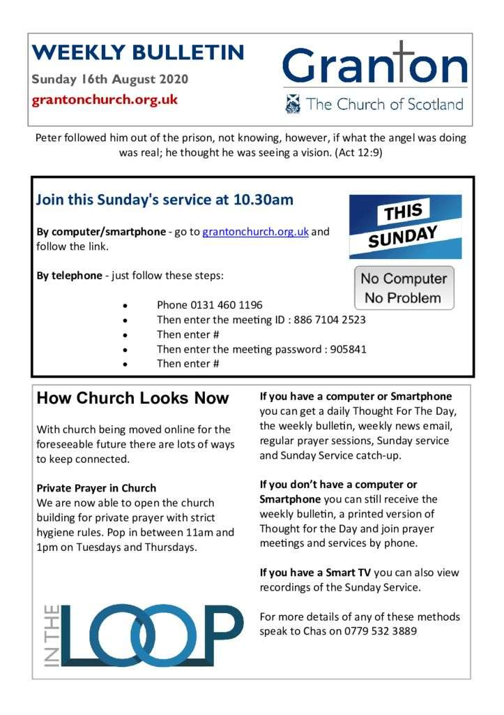 thumbnail of 2020 08 16 – The Bulletin for Sunday 16th August 2020