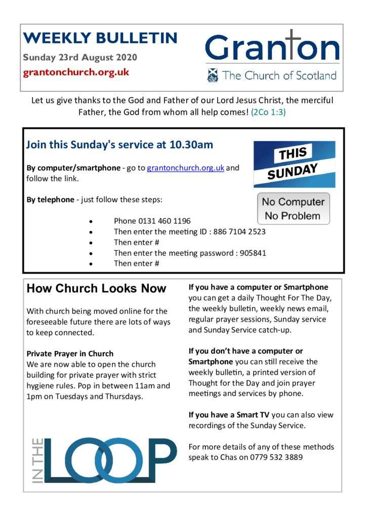 thumbnail of 2020 08 23 – The Bulletin for Sunday 23rd August 2020