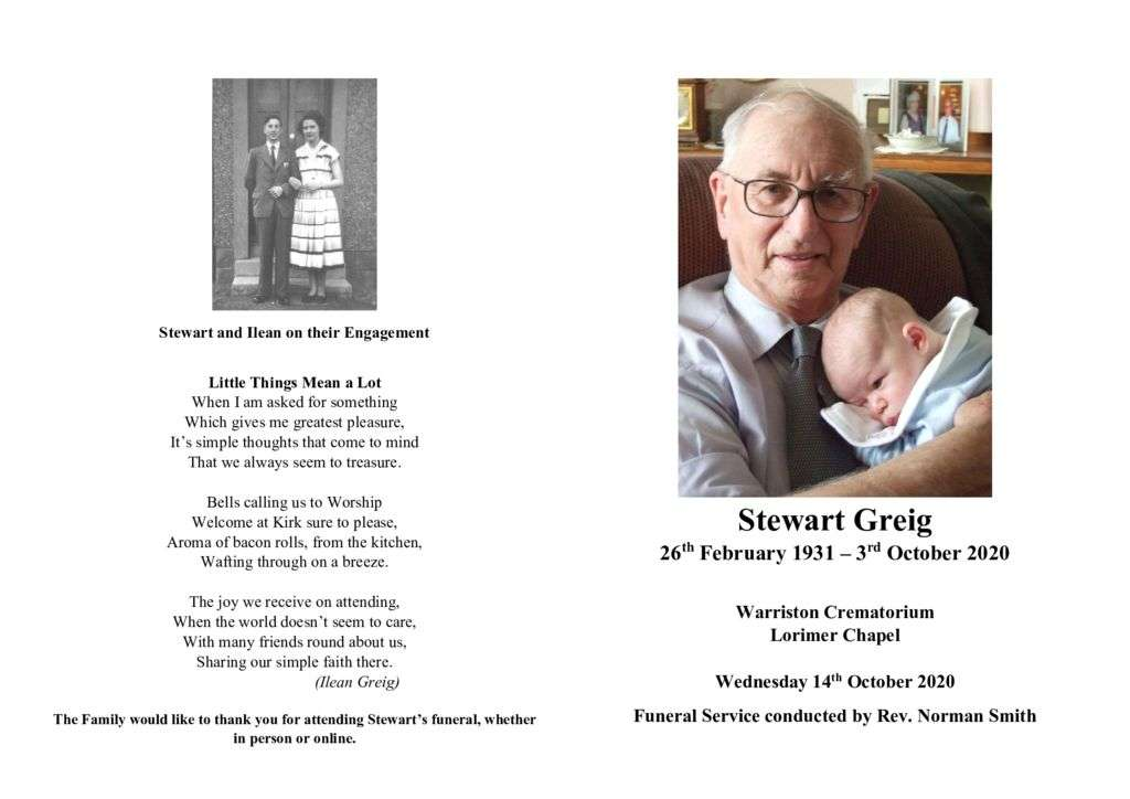 thumbnail of Order of Service – Stewart Greig
